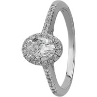 9ct White Gold 0.75ct Oval-cut Diamond Halo Ring THR19672-75 M