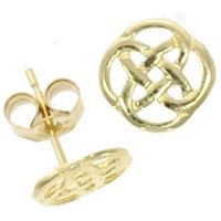 9ct Yellow Gold Openwork Celtic Knot Stud Earrings 10.01.155