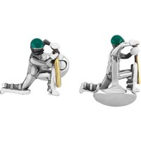 Deakin and Francis Mens Sterling Silver Enamel Cricketer Cufflinks C1664S13
