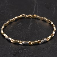 Pre-Owned 9ct Yellow Gold Wave Link Bracelet 4106285