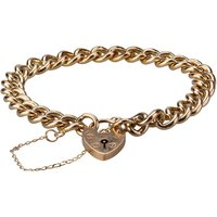 Pre-Owned 9ct Yellow Gold Curb Chain Padlock Bracelet 4107132