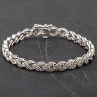 "Pre-Owned 9ct White Gold Fancy 7"" Diamond Set Bracelet 4107549"