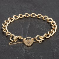 Pre-Owned 9ct Yellow Gold Curb Padlock Bracelet 4107821