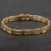 Pre-Owned 9ct Yellow Gold 6.5 Inch Four Row Chain Bracelet 4107874
