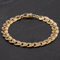 """Pre-Owned 9ct Yellow Gold 6.5"""" Fancy Curb Link Bracelet 4107888"""