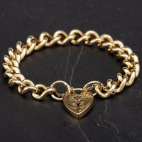Pre-Owned 9ct Yellow Gold 8 Inch Heavy Curb Bracelet 4107906