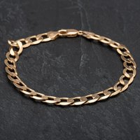 Pre-Owned 9ct Yellow Gold 9 Inch Flat Curb Bracelet