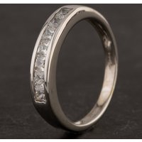 Pre-Owned 9ct White Gold Seven Stone Cubic Zirconia Half Eternity Ring 4109139