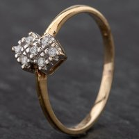 Pre-Owned 9ct Yellow Gold Cubic Zirconia Cluster Ring 4109272