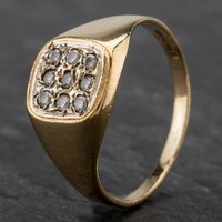 Pre-Owned 9ct Yellow Gold Cubic Zirconia Cushion Cluster Ring