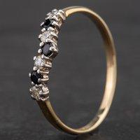 Pre-Owned 9ct Yellow Gold Seven Stone Diamond Sapphire Wishbone Ring 4109395