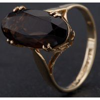 Pre-Owned 9ct Yellow Gold Oval Smokey Quartz Dress Ring 4109823