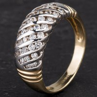 Pre-Owned 9ct Two Colour Gold Cubic Zirconia Set Dress Ring 4109911