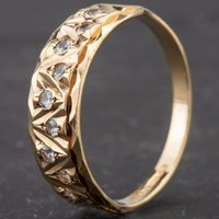 Pre-Owned 9ct Yellow Gold Synthetic White Spinel Half Eternity Ring 4109980