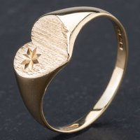 Pre-Owned 9ct Yellow Gold Heart Shape Signet Ring 4110035