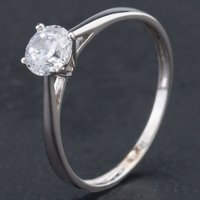 Pre-Owned 9ct White Gold Cubic Zirconia Single Stone Ring 4110043