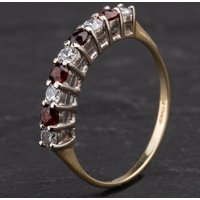 Pre-Owned 9ct Yellow Gold Garnet Half Eternity Ring 4110103