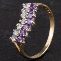 Pre-Owned 9ct Yellow Gold Purple Cubic Zirconia Half Wishbone Ring 4110287