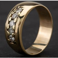 Pre-Owned 9ct Yellow Gold Diamond Five Stone Set 7mm Band Ring 4112108