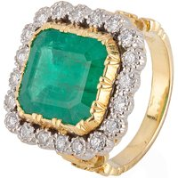 Pre-Owned Emerald and Diamond Cluster Ring 4112255