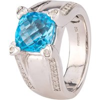 Pre-Owned 9ct White Gold Blue Topaz and Diamond Ring