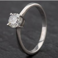 Pre-Owned 9ct White Gold Diamond Single Stone 4 Claw Diamond Set Ring