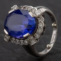 Pre-Owned 9ct White Gold Tanzanite and Diamond Cluster Ring 4112954