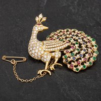 Pre-Owned 14ct Yellow Gold Diamond Emerald Ruby and Sapphire Set Peacock Brooch 4113409