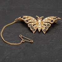 Pre-Owned 9ct Yellow Gold Ruby Seed Pearl and Sapphire Set Butterfly Brooch 4113436