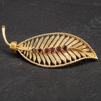 Pre-Owned 9ct Yellow Gold Six Stone Garnet Set Fern Brooch 4113444