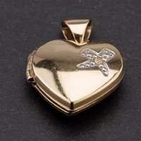 Pre-Owned 9ct Two Colour Gold Heart Shaped Diamond Set Locket 4114113