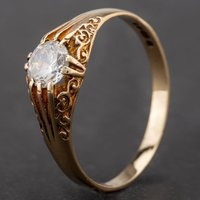 Pre-Owned 9ct Yellow Gold Cubic Zirconia Claw Set Ring 4115785