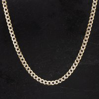 Pre-Owned 9ct Yellow And White Gold Curb Link Chain 4116187