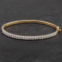 Pre-Owned 9ct Yellow Gold Cubic Zirconia Hinged Bangle 4121198