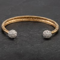 Pre-Owned 9ct Yellow Gold Cubic Zirconia Torque Bangle 4121203