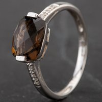 Pre-Owned 9ct White Gold Smokey Quartz and Diamond Set Shoulders Ring 4133388
