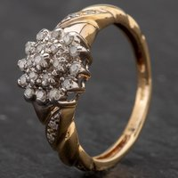 Pre-Owned 9ct Gold Diamond Cluster Diamond Set Shouldered Ring 4133771