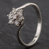 Pre-Owned 9ct White Gold Diamond Flower Style Cluster Twist Ring