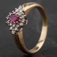 Pre-Owned 9ct Yellow Gold Ruby and Diamond Cluster Ring 4133957