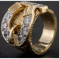 Pre-Owned 9ct Yellow Gold Gentlemans Cubic Zirconia Set Buckle Ring 4134179