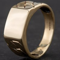 Pre-Owned 9ct Yellow Gold Gentlemans Oblong Chain Link Signet Ring 4134232