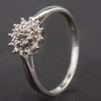 Pre-Owned 9ct White Gold Diamond Cluster Ring 4136949