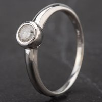 Pre-Owned 9ct White Gold Rubover Set Diamond Single Stone Ring 4138033