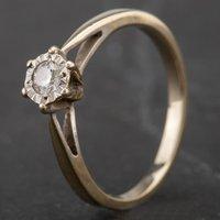 Pre-Owned 9ct White Gold Diamond Illusion Set Single Stone Ring 4138104