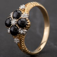 Pre-Owned 9ct Yellow Gold Diamond and Cabochon Cut Onyx Cluster Ring 4138108