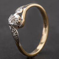 Pre-Owned 9ct Yellow Gold Illusion Set Diamond Solitaire Ring 4145182