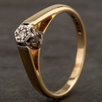 Pre-Owned 9ct Yellow Gold Illusion Set Diamond Single Stone Ring