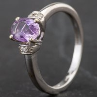 Pre-Owned 9ct White Gold Oval Amethyst and Diamond Ring 4145414