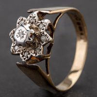Pre-Owned 9ct Yellow Gold Illusion Set Diamond Cluster Ring 4145740