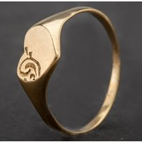 Pre-Owned 9ct Yellow Gold Childrens Heart Engraved Signet Ring 4146509